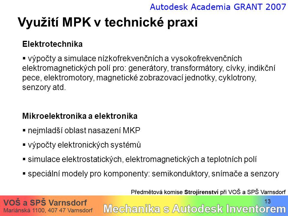 13 Využití MPK v technické praxi Elektrotechnika  výpočty a simulace nízkofrekvenčních a vysokofrekvenčních elektromagnetických polí pro: generátory,