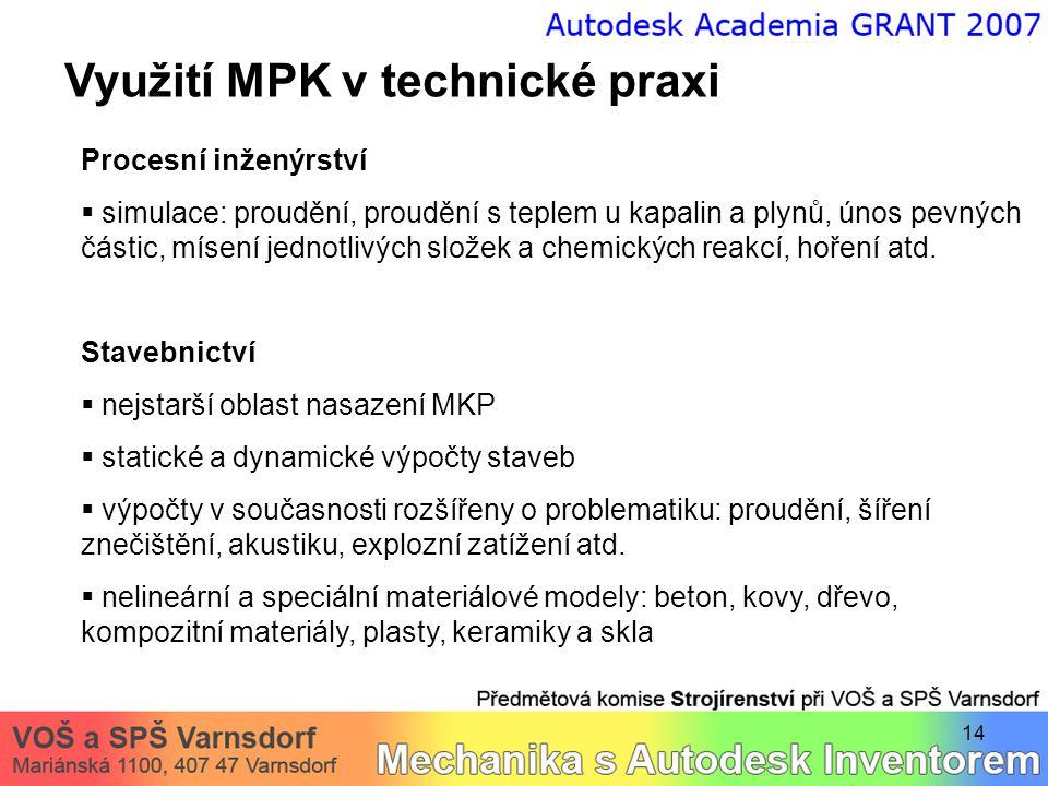 14 Využití MPK v technické praxi Procesní inženýrství  simulace: proudění, proudění s teplem u kapalin a plynů, únos pevných částic, mísení jednotliv