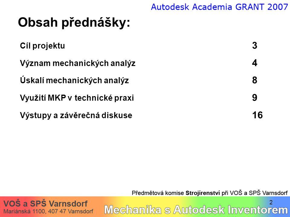 2 Obsah přednášky: Cíl projektu 3 Význam mechanických analýz 4 Úskalí mechanických analýz 8 Využití MKP v technické praxi 9 Výstupy a závěrečná diskus