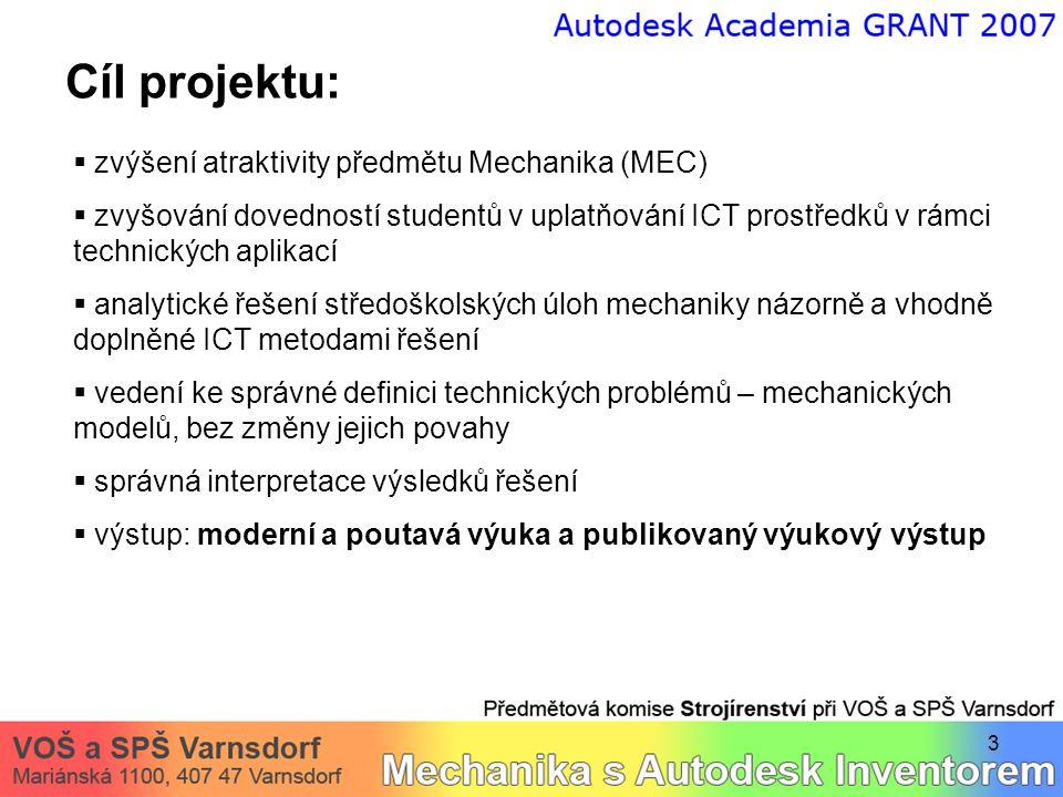 3 Cíl projektu:  zvýšení atraktivity předmětu Mechanika (MEC)  zvyšování dovedností studentů v uplatňování ICT prostředků v rámci technických aplika