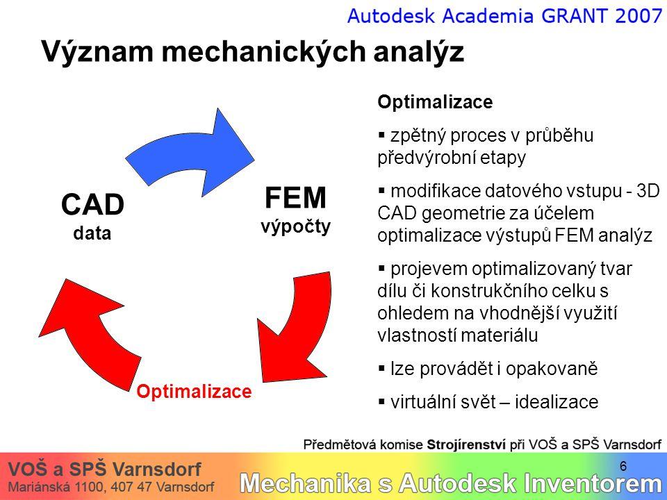 6 Význam mechanických analýz Optimalizace  zpětný proces v průběhu předvýrobní etapy  modifikace datového vstupu - 3D CAD geometrie za účelem optima