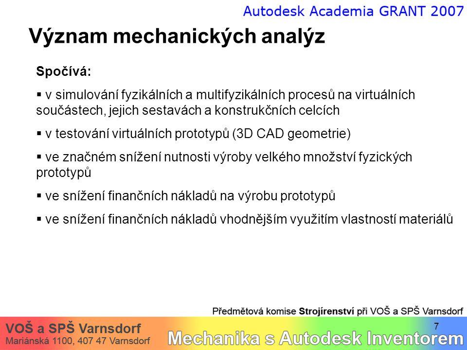 7 Význam mechanických analýz Spočívá:  v simulování fyzikálních a multifyzikálních procesů na virtuálních součástech, jejich sestavách a konstrukčníc