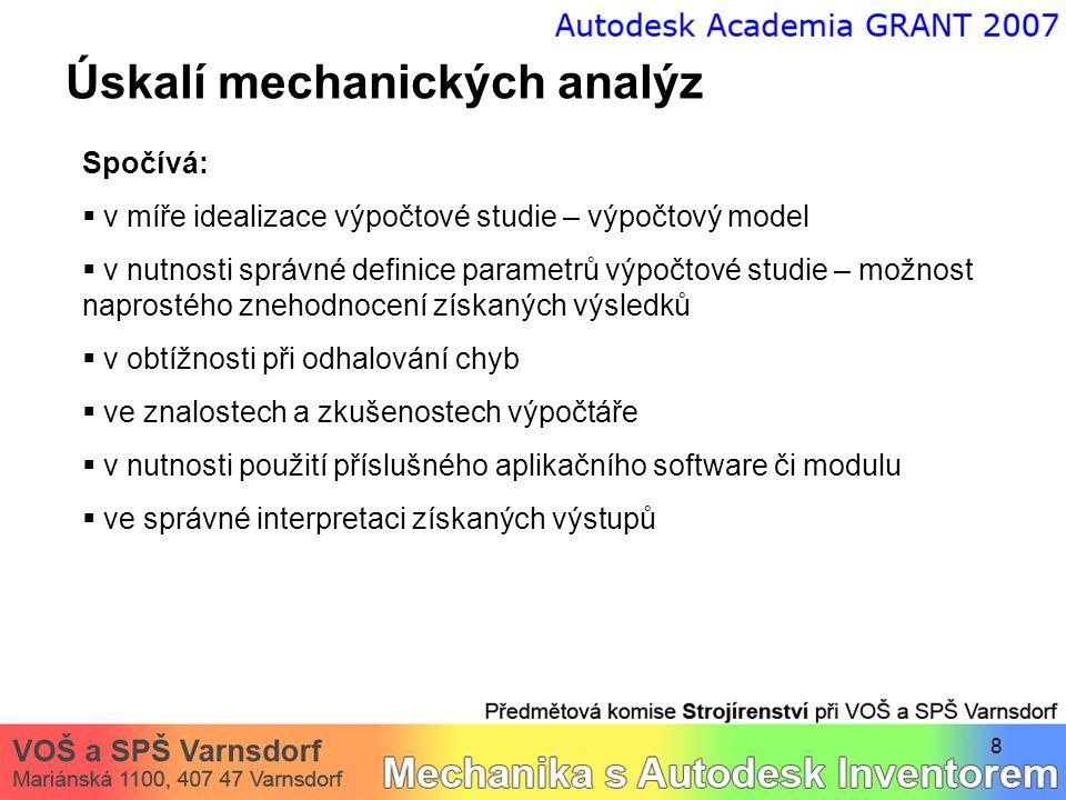 8 Úskalí mechanických analýz Spočívá:  v míře idealizace výpočtové studie – výpočtový model  v nutnosti správné definice parametrů výpočtové studie