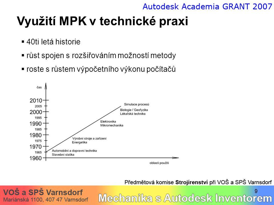 9 Využití MPK v technické praxi  40ti letá historie  růst spojen s rozšiřováním možností metody  roste s růstem výpočetního výkonu počítačů