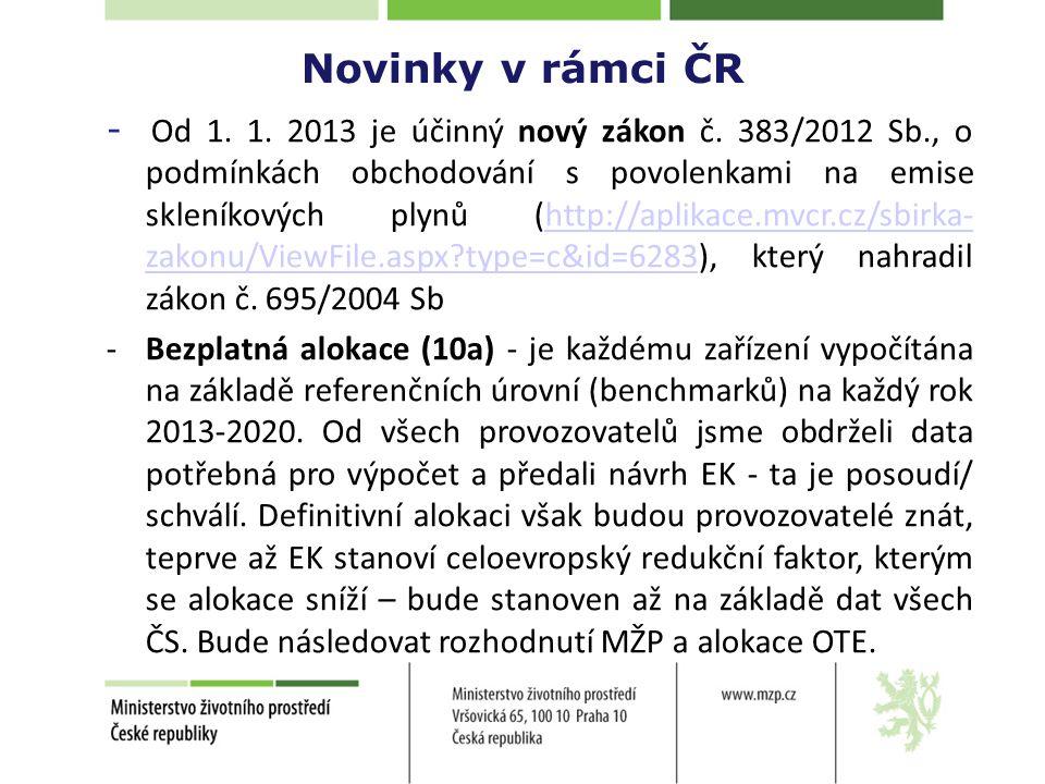 Novinky v rámci ČR - Od 1. 1. 2013 je účinný nový zákon č.