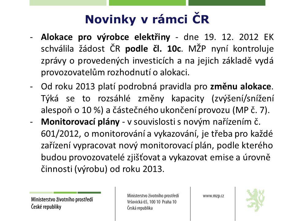 Novinky v rámci ČR -Alokace pro výrobce elektřiny - dne 19.