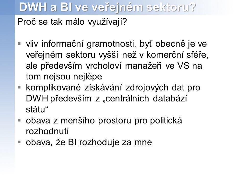 DWH a BI ve veřejném sektoru.Proč se tak málo využívají.