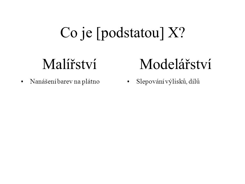 Co je [podstatou] X.