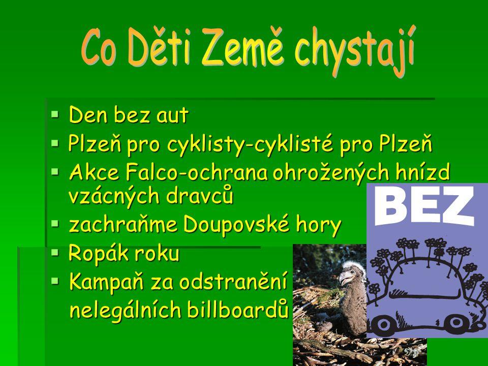  Den bez aut  Plzeň pro cyklisty-cyklisté pro Plzeň  Akce Falco-ochrana ohrožených hnízd vzácných dravců  zachraňme Doupovské hory  Ropák roku  Kampaň za odstranění nelegálních billboardů nelegálních billboardů