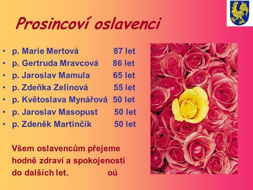 Prosincoví oslavenci p. Marie Mertová 87 let p. Gertruda Mravcová 86 let p. Jaroslav Mamula 65 let p. Zdeňka Zelinová 55 let p. Květoslava Mynářová 50