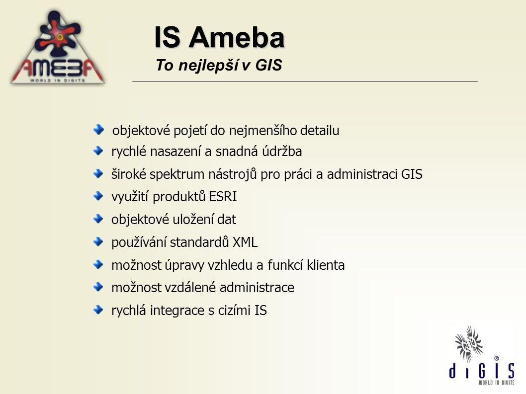 IS Ameba To nejlepší v GIS objektové pojetí do nejmenšího detailu rychlé nasazení a snadná údržba široké spektrum nástrojů pro práci a administraci GI