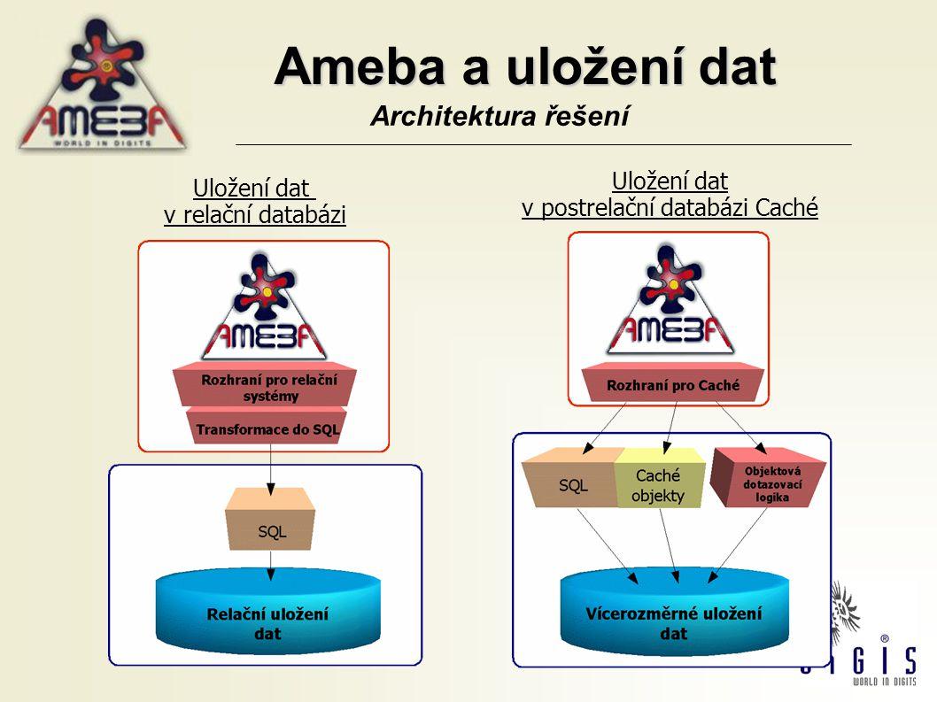 IS Ameba To nejlepší v GIS objektové pojetí do nejmenšího detailu rychlé nasazení a snadná údržba široké spektrum nástrojů pro práci a administraci GIS využití produktů ESRI objektové uložení dat používání standardů XML možnost úpravy vzhledu a funkcí klienta možnost vzdálené administrace rychlá integrace s cizími IS