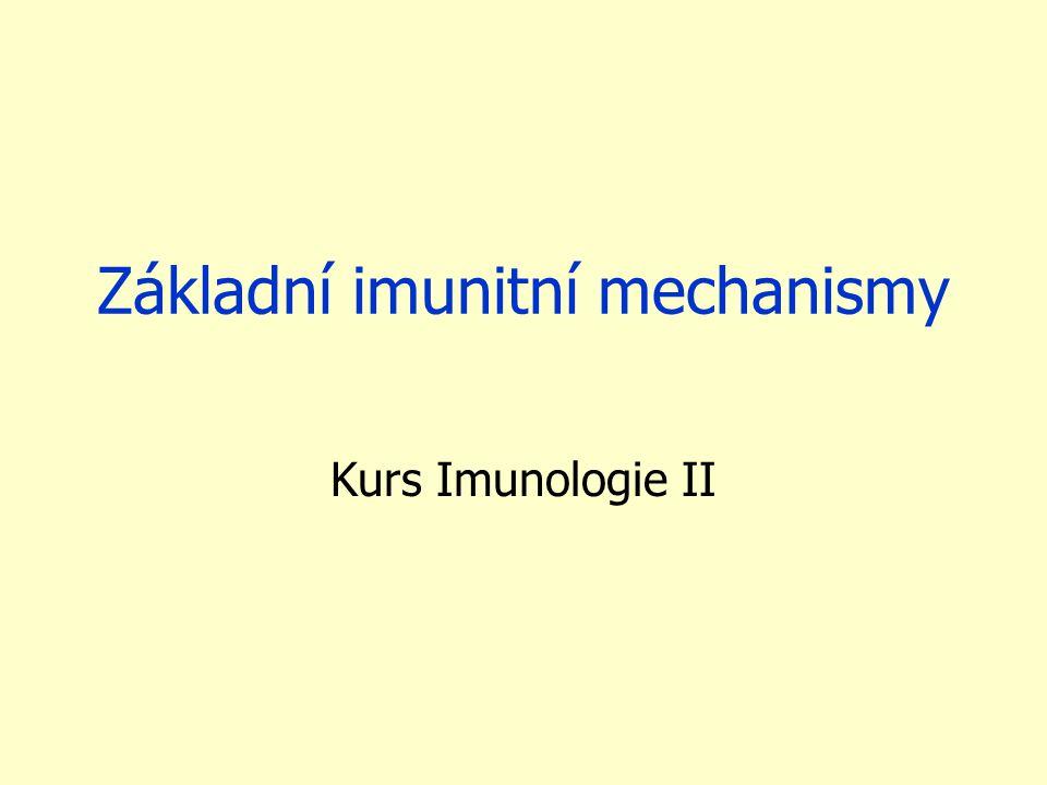 Základní imunitní mechanismy Kurs Imunologie II
