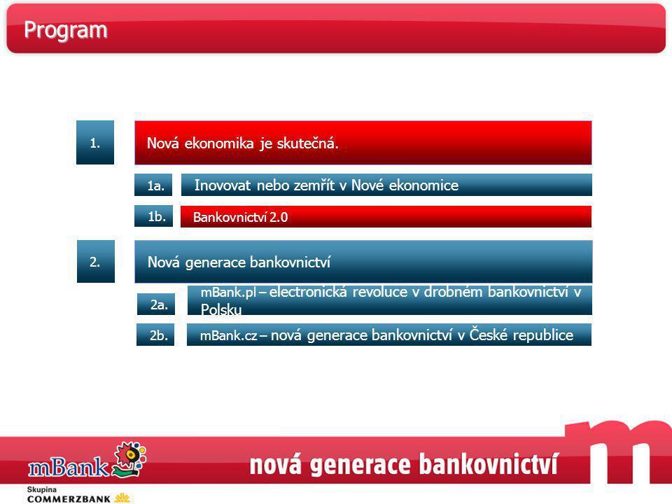 Nová ekonomika je skutečná. Inovovat nebo zemřít v Nové ekonomice 1a. Bankovnictví 2.0 1b. mBank.pl – electronická revoluce v drobném bankovnictví v P
