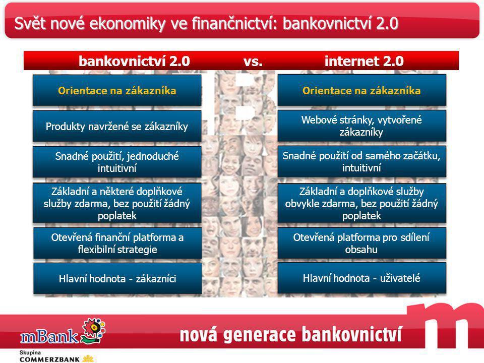 bankovnictví 2.0 vs. internet 2.0 Orientace na zákazníkaProdukty navržené se zákazníky Snadné použití, jednoduché intuitivní Základní a některé doplňk