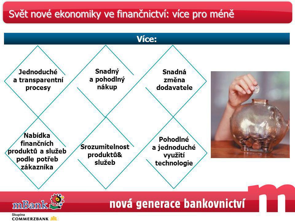 Jednoduché a transparentní procesy Snadný a pohodlný nákup Snadná změna dodavatele Nabídka finančních produktů a služeb podle potřeb zákazníka Srozumi