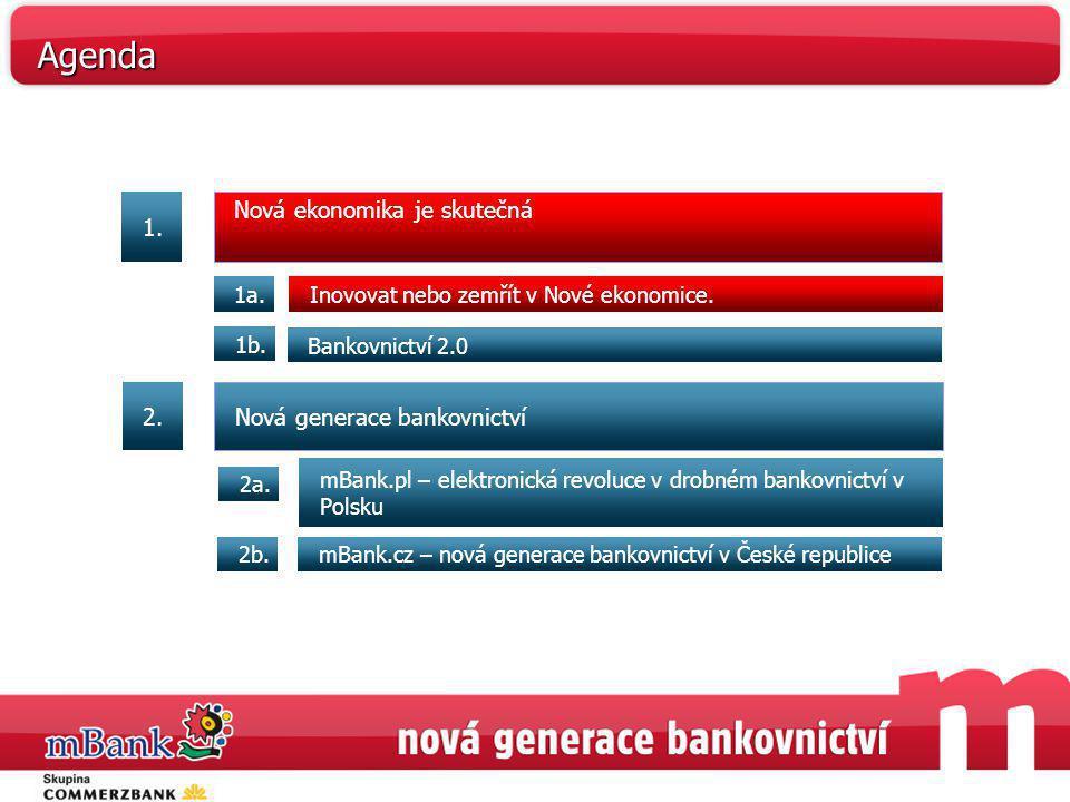 Nová ekonomika je skutečná Inovovat nebo zemřít v Nové ekonomice.1a. Bankovnictví 2.0 1b. mBank.pl – elektronická revoluce v drobném bankovnictví v Po