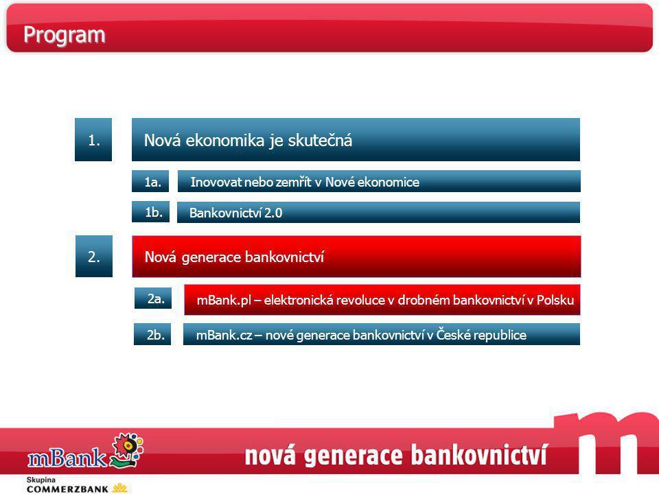 Nová ekonomika je skutečná Inovovat nebo zemřít v Nové ekonomice1a. Bankovnictví 2.0 1b. mBank.pl – elektronická revoluce v drobném bankovnictví v Pol