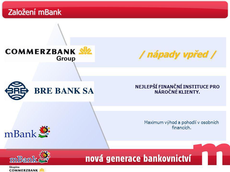 NEJLEPŠÍ FINANČNÍ INSTITUCE PRO NÁROČNÉ KLIENTY. Maximum výhod a pohodlí v osobních financích. / nápady vpřed/ / nápady vpřed / Založení mBank