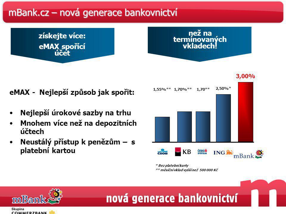 37 mBank.cz – nová generace bankovnictví získejte více: eMAX spořící účet eMAX - Nejlepší způsob jak spořit: Nejlepší úrokové sazby na trhu Mnohem víc