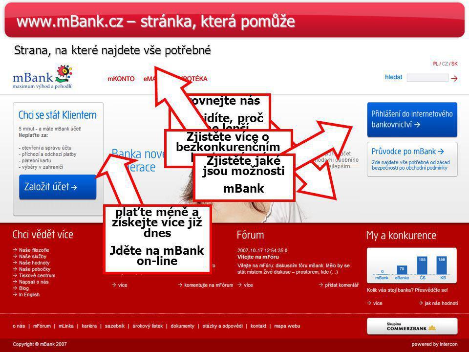 39 www.mBank.cz – stránka, která pomůže Strana, na které najdete vše potřebné plaťte méně a získejte více již dnes Jděte na mBank on-line Srovnejte ná