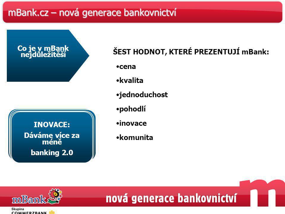 40 KOMUNITA: Naslouchejte zákazníkům a vyjděte jim vstříc mBank.cz – nová generace bankovnictví ŠEST HODNOT, KTERÉ PREZENTUJÍ mBank: cena kvalita jedn