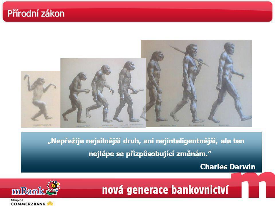 """""""Nepřežije nejsilnější druh, ani nejinteligentnější, ale ten nejlépe se přizpůsobující změnám."""" Charles Darwin Přírodní zákon"""