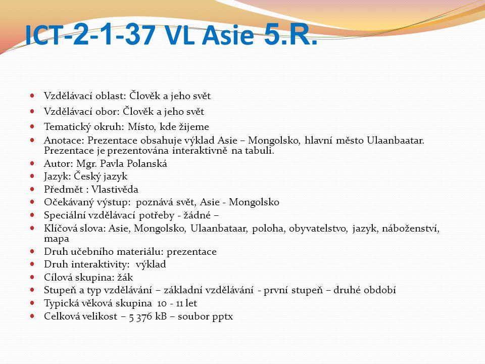 ICT- 2 - 1 - 3 7 VL Asie 5.R.