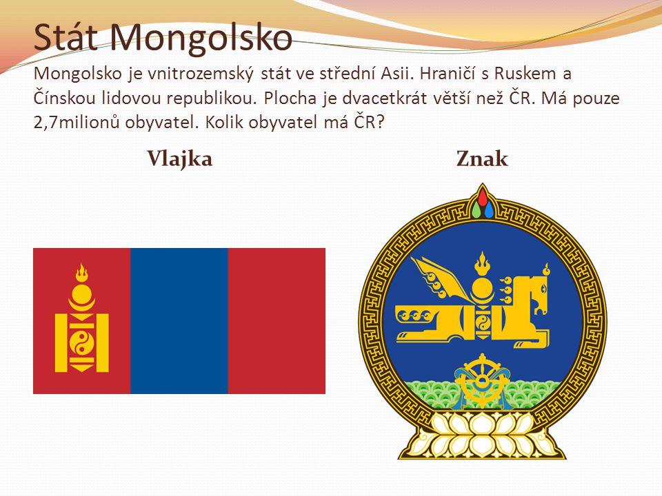 Stát Mongolsko Mongolsko je vnitrozemský stát ve střední Asii.