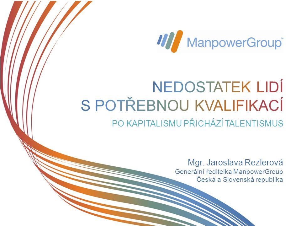 Mgr. Jaroslava Rezlerová Generální ředitelka ManpowerGroup Česká a Slovenská republika