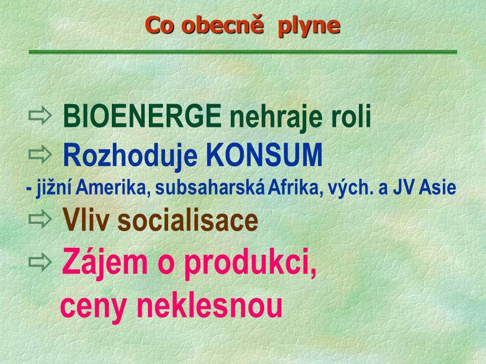  BIOENERGE nehraje roli  Rozhoduje KONSUM - jižní Amerika, subsaharská Afrika, vých. a JV Asie  Vliv socialisace  Zájem o produkci, ceny neklesnou