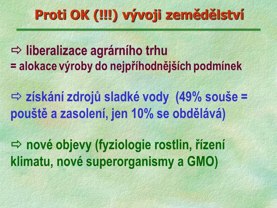  liberalizace agrárního trhu = alokace výroby do nejpříhodnějších podmínek  získání zdrojů sladké vody (49% souše = pouště a zasolení, jen 10% se obdělává)  nové objevy (fyziologie rostlin, řízení klimatu, nové superorganismy a GMO) Proti OK (!!!) vývoji zemědělství
