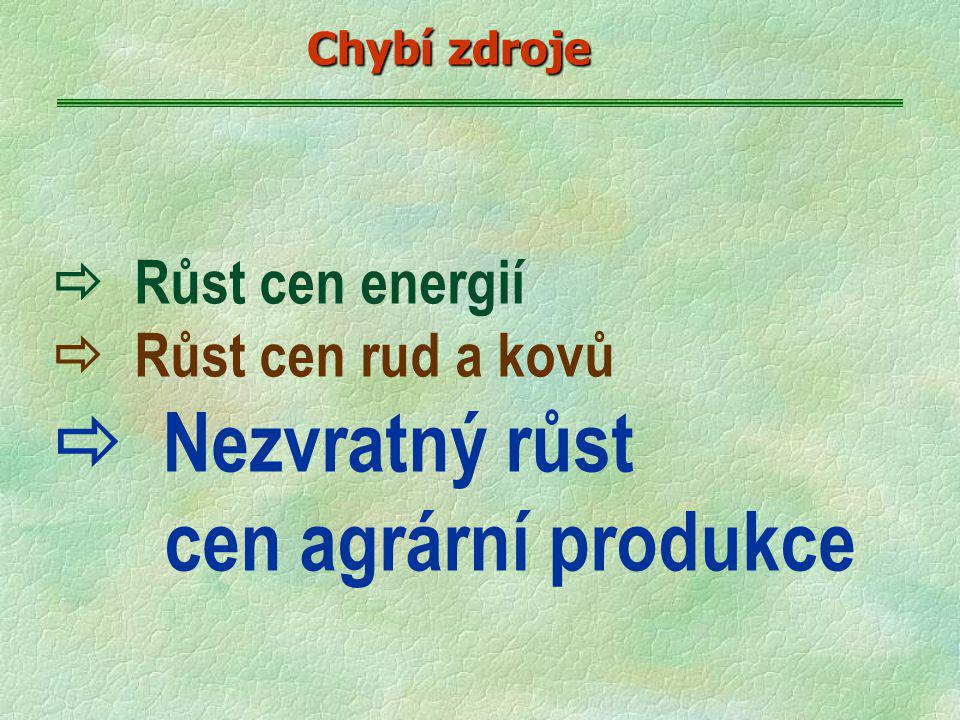  Růst cen energií  Růst cen rud a kovů  Nezvratný růst cen agrární produkce Chybí zdroje