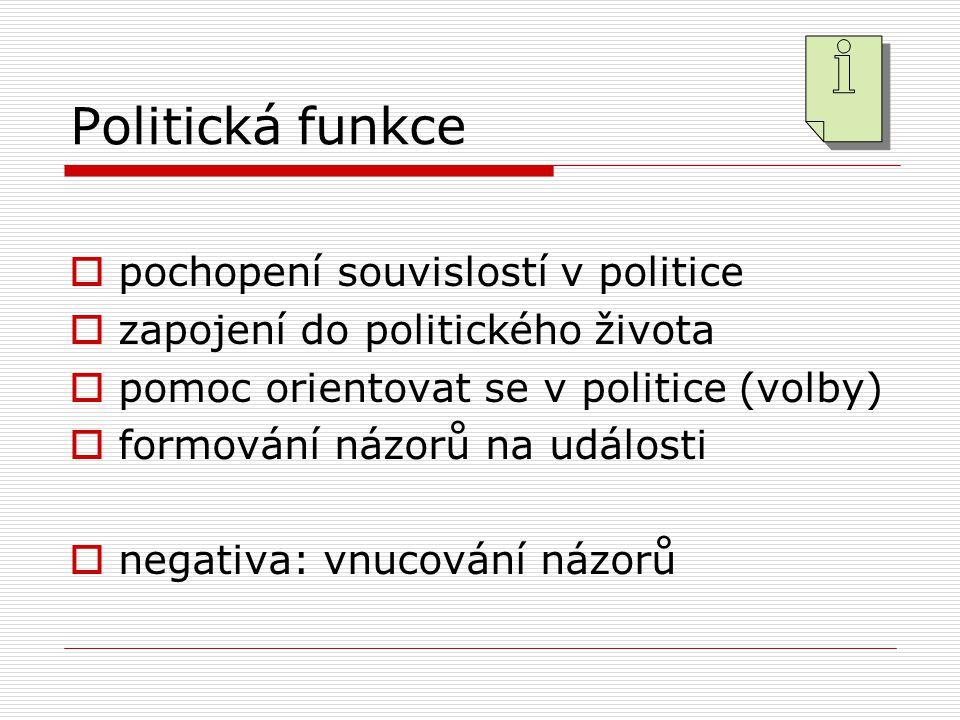 Politická funkce  pochopení souvislostí v politice  zapojení do politického života  pomoc orientovat se v politice (volby)  formování názorů na události  negativa: vnucování názorů