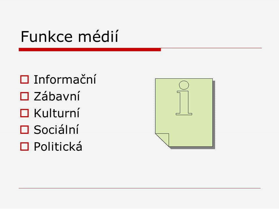 Shrnutí  Jaká byla prvotní funkce médií. Jaké další funkce média mají.