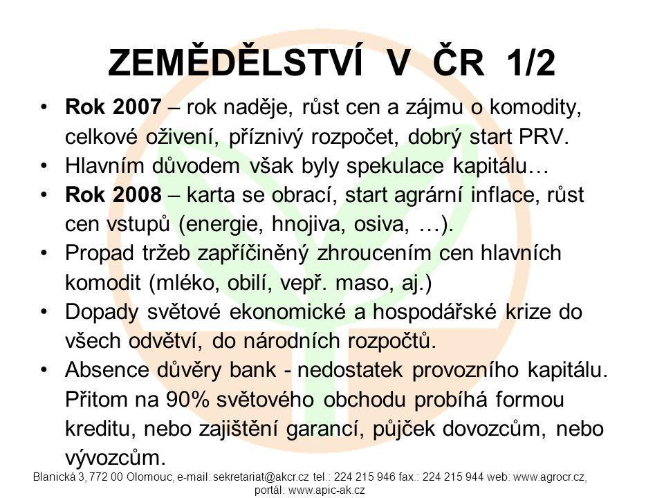 Blanická 3, 772 00 Olomouc, e-mail: sekretariat@akcr.cz tel.: 224 215 946 fax.: 224 215 944 web: www.agrocr.cz, portál: www.apic-ak.cz ZEMĚDĚLSTVÍ V ČR 1/2 Rok 2007 – rok naděje, růst cen a zájmu o komodity, celkové oživení, příznivý rozpočet, dobrý start PRV.