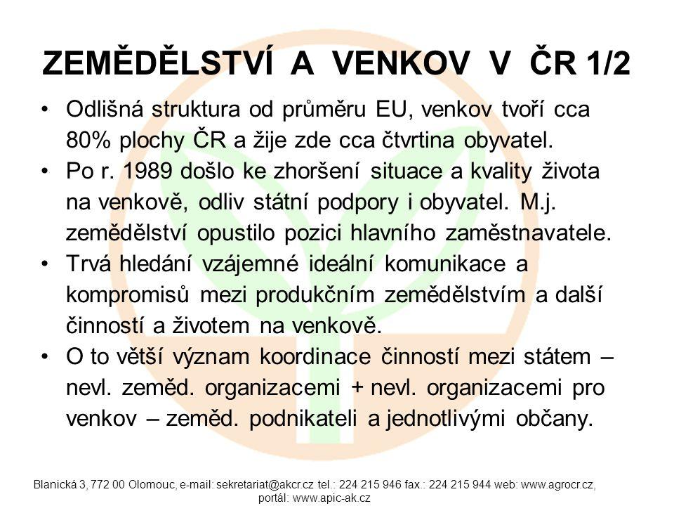 Blanická 3, 772 00 Olomouc, e-mail: sekretariat@akcr.cz tel.: 224 215 946 fax.: 224 215 944 web: www.agrocr.cz, portál: www.apic-ak.cz ZEMĚDĚLSTVÍ A VENKOV V ČR 1/2 Odlišná struktura od průměru EU, venkov tvoří cca 80% plochy ČR a žije zde cca čtvrtina obyvatel.