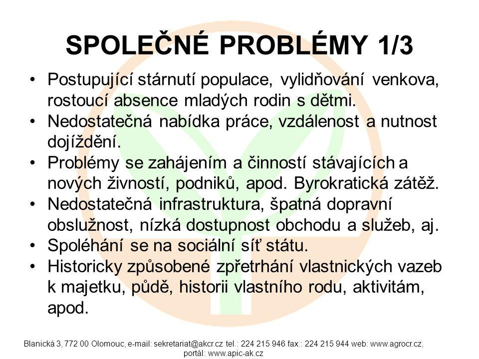 Blanická 3, 772 00 Olomouc, e-mail: sekretariat@akcr.cz tel.: 224 215 946 fax.: 224 215 944 web: www.agrocr.cz, portál: www.apic-ak.cz SPOLEČNÉ PROBLÉMY 1/3 Postupující stárnutí populace, vylidňování venkova, rostoucí absence mladých rodin s dětmi.