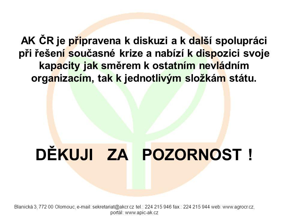 Blanická 3, 772 00 Olomouc, e-mail: sekretariat@akcr.cz tel.: 224 215 946 fax.: 224 215 944 web: www.agrocr.cz, portál: www.apic-ak.cz AK ČR je připravena k diskuzi a k další spolupráci při řešení současné krize a nabízí k dispozici svoje kapacity jak směrem k ostatním nevládním organizacím, tak k jednotlivým složkám státu.