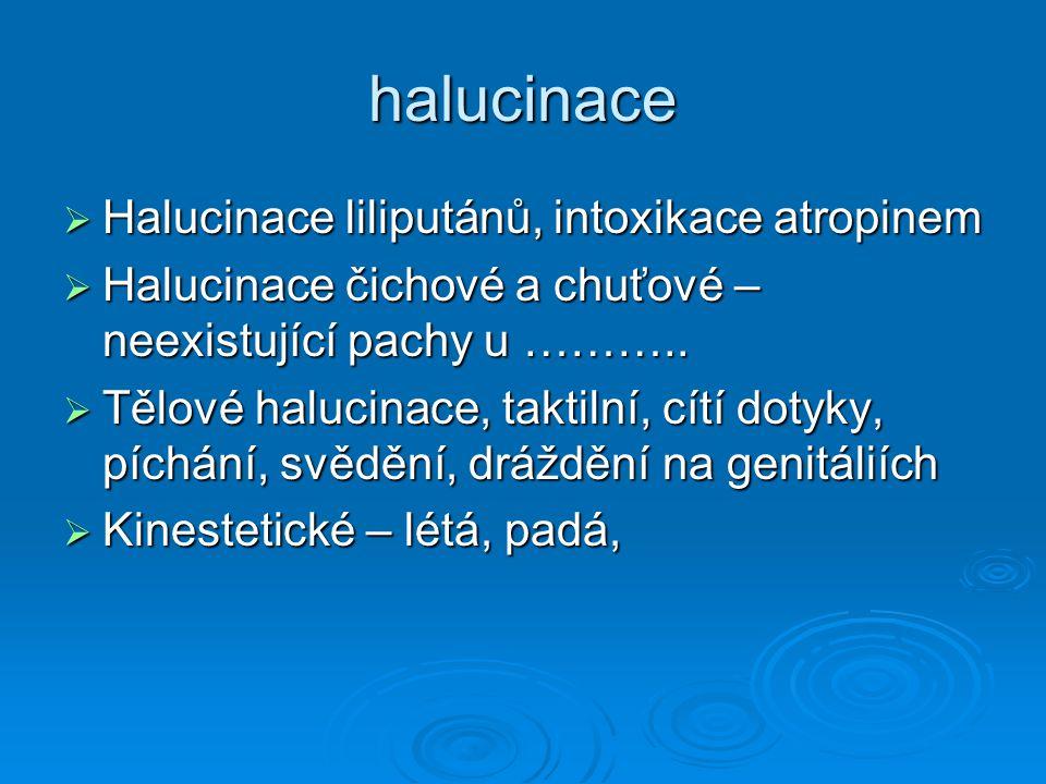halucinace  Halucinace liliputánů, intoxikace atropinem  Halucinace čichové a chuťové – neexistující pachy u ………..  Tělové halucinace, taktilní, cí