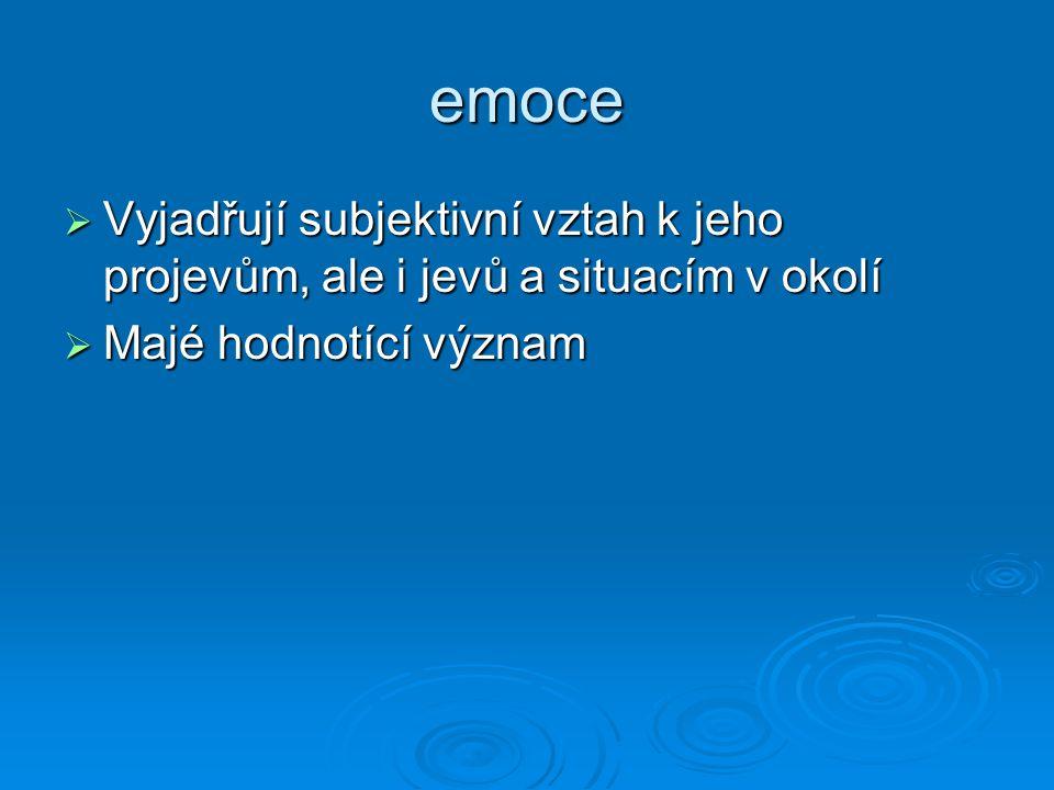 emoce  Vyjadřují subjektivní vztah k jeho projevům, ale i jevů a situacím v okolí  Majé hodnotící význam