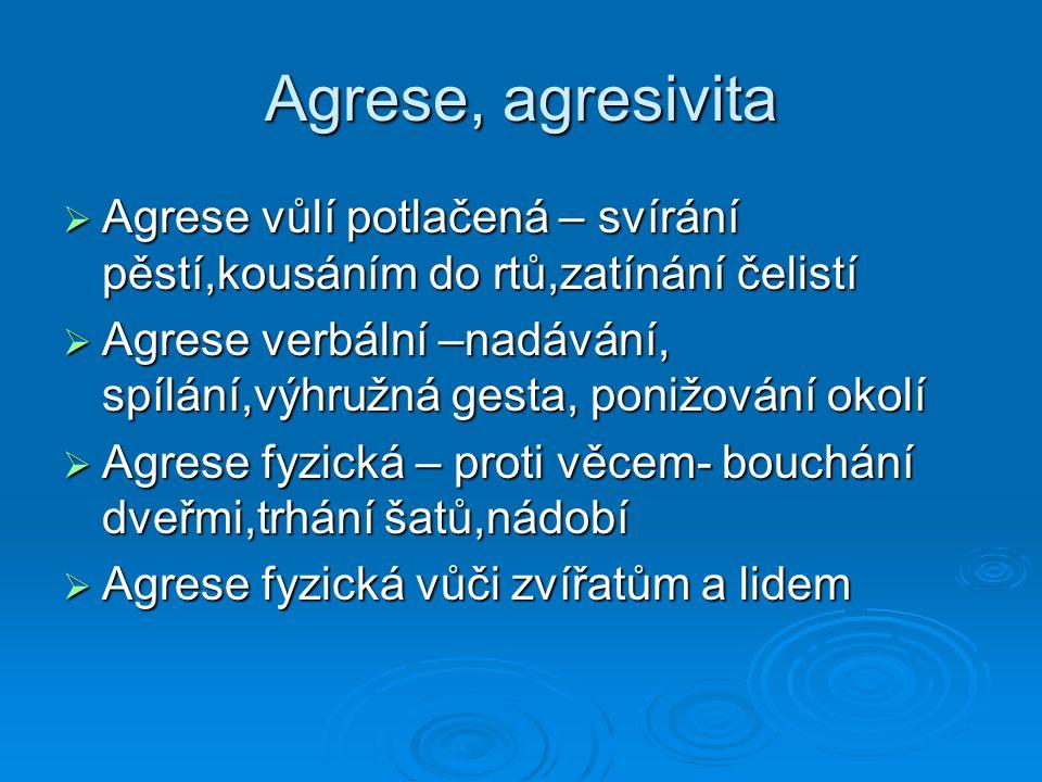 Agrese, agresivita  Agrese vůlí potlačená – svírání pěstí,kousáním do rtů,zatínání čelistí  Agrese verbální –nadávání, spílání,výhružná gesta, poniž