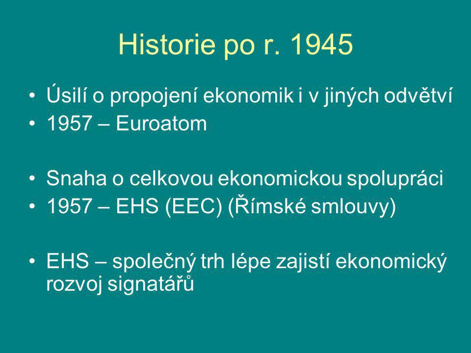 Historie po r. 1945 Úsilí o propojení ekonomik i v jiných odvětví 1957 – Euroatom Snaha o celkovou ekonomickou spolupráci 1957 – EHS (EEC) (Římské sml