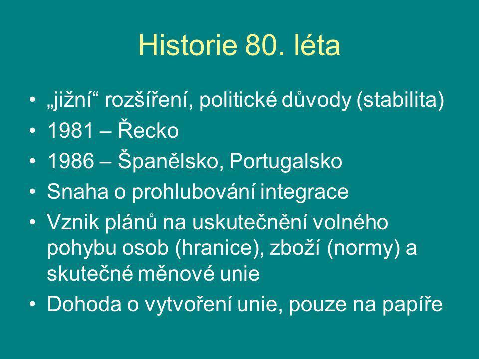 """Historie 80. léta """"jižní"""" rozšíření, politické důvody (stabilita) 1981 – Řecko 1986 – Španělsko, Portugalsko Snaha o prohlubování integrace Vznik plán"""