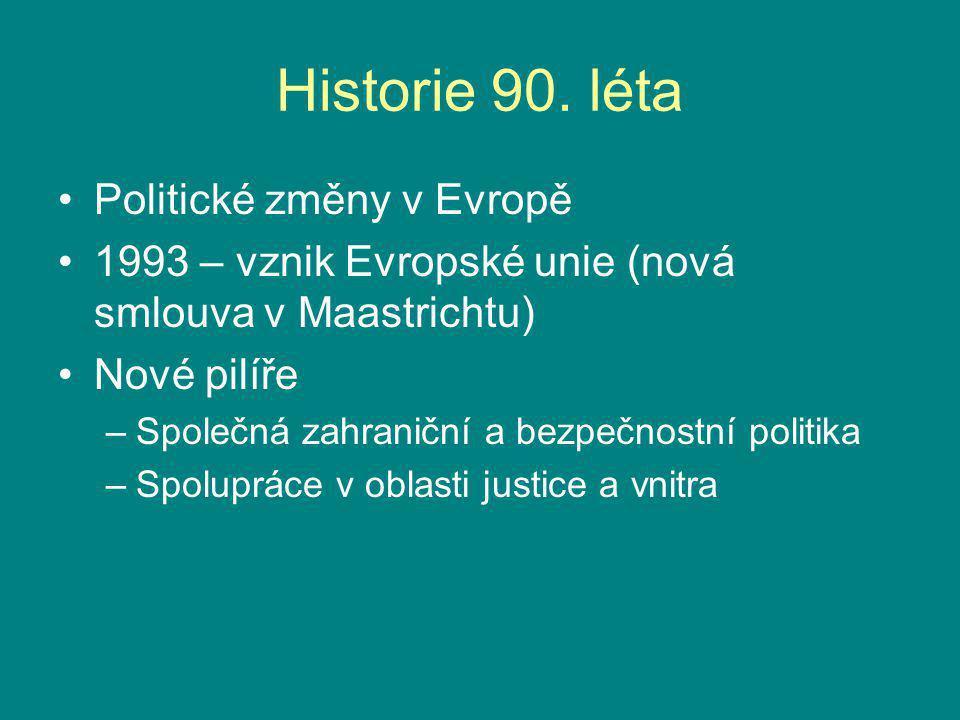 Historie 90. léta Politické změny v Evropě 1993 – vznik Evropské unie (nová smlouva v Maastrichtu) Nové pilíře –Společná zahraniční a bezpečnostní pol