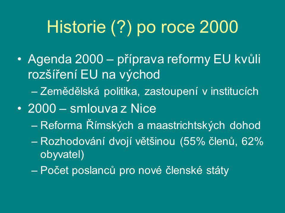 Historie (?) po roce 2000 Agenda 2000 – příprava reformy EU kvůli rozšíření EU na východ –Zemědělská politika, zastoupení v institucích 2000 – smlouva