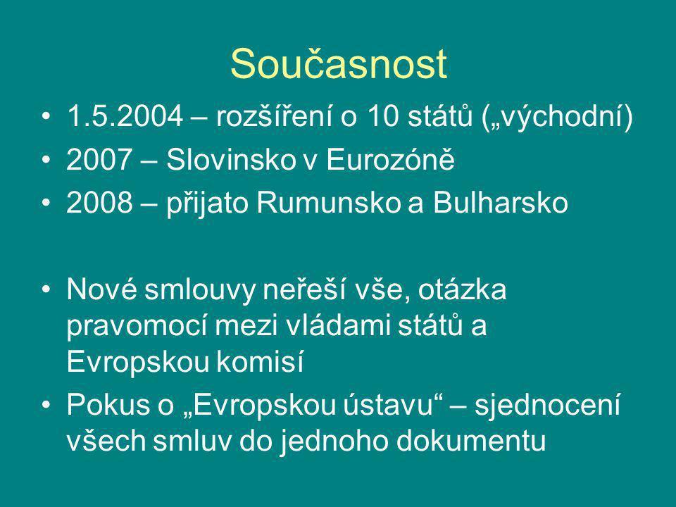 """Současnost 1.5.2004 – rozšíření o 10 států (""""východní) 2007 – Slovinsko v Eurozóně 2008 – přijato Rumunsko a Bulharsko Nové smlouvy neřeší vše, otázka"""
