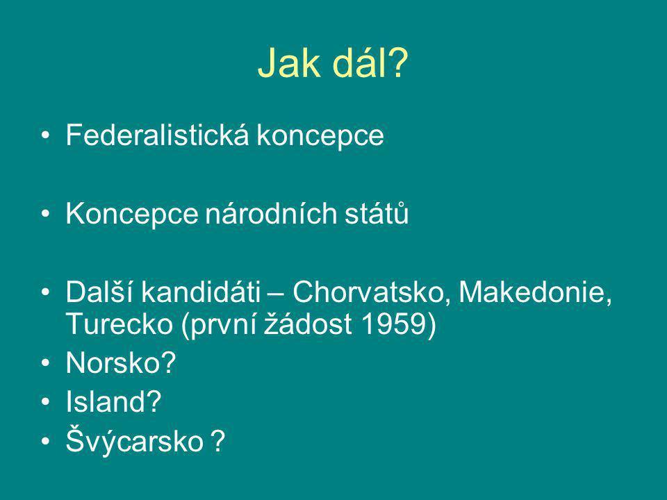 Jak dál? Federalistická koncepce Koncepce národních států Další kandidáti – Chorvatsko, Makedonie, Turecko (první žádost 1959) Norsko? Island? Švýcars