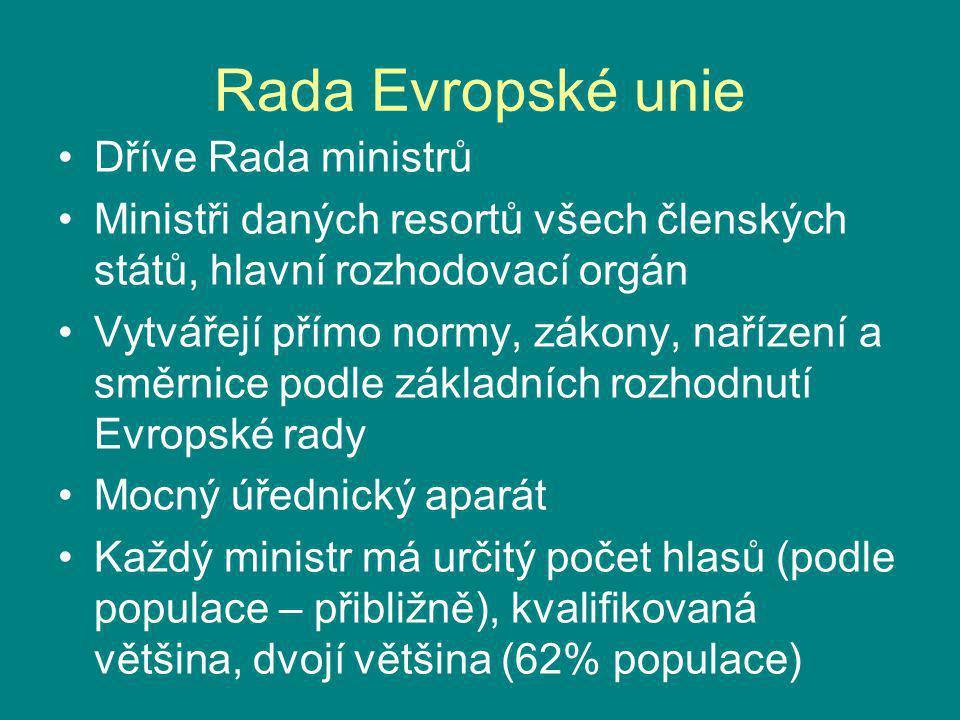 Rada Evropské unie Dříve Rada ministrů Ministři daných resortů všech členských států, hlavní rozhodovací orgán Vytvářejí přímo normy, zákony, nařízení