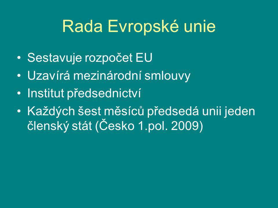 Rada Evropské unie Sestavuje rozpočet EU Uzavírá mezinárodní smlouvy Institut předsednictví Každých šest měsíců předsedá unii jeden členský stát (Česk